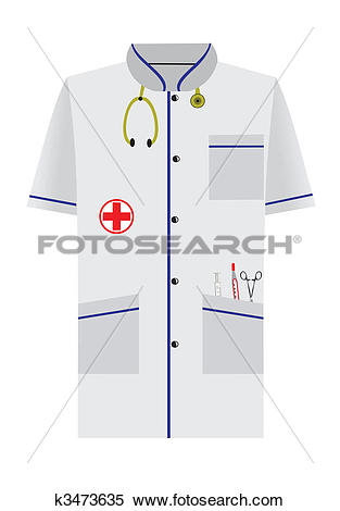 Clipart of Medical dressing gown of isolated on white background.