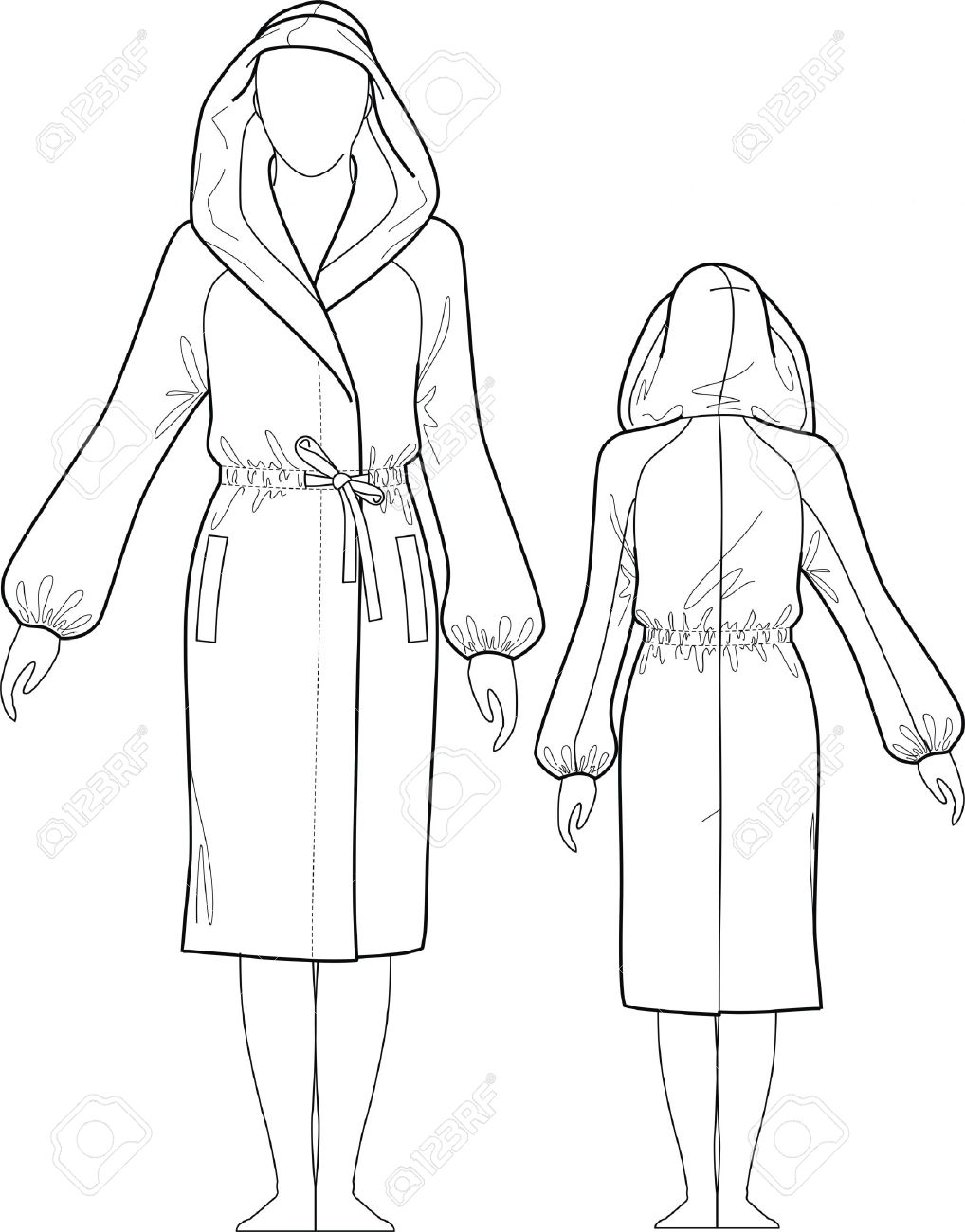 Dressing Gown Female With A Hood, Pockets And A Belt Royalty Free.