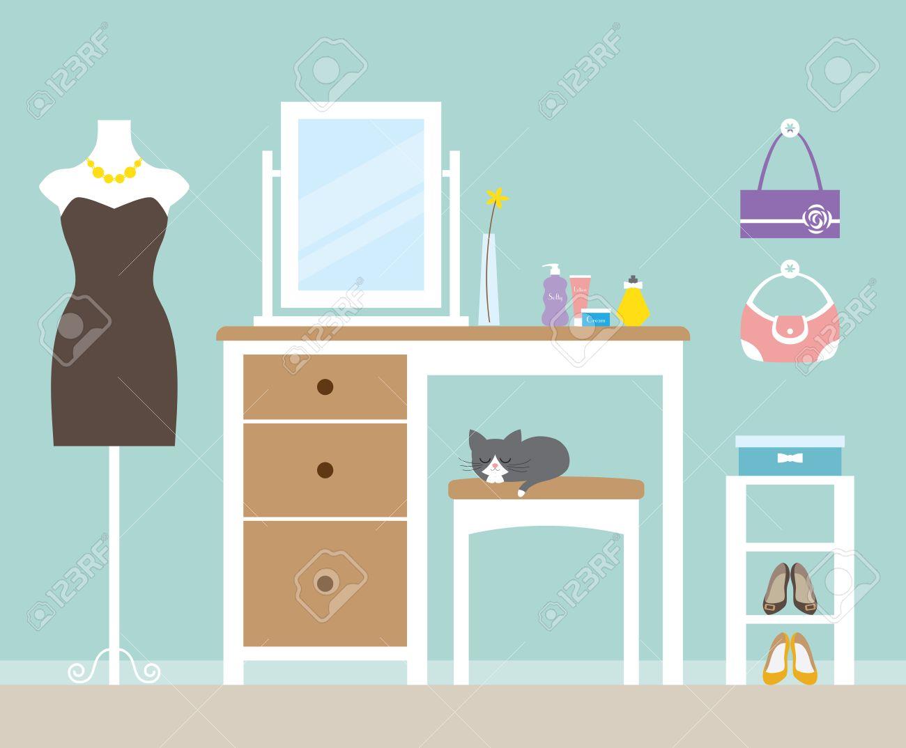 Vector illustration of a dressing room.