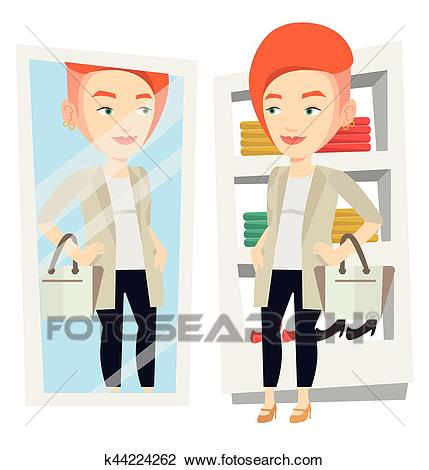Woman trying on clothes in dressing room. Clipart.