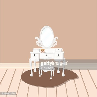 white dressing table with relate mirror and stool Clipart.