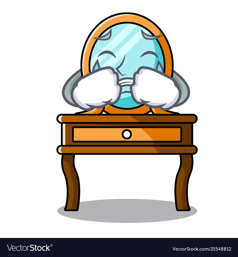 Crying dressing table mascot cartoon.