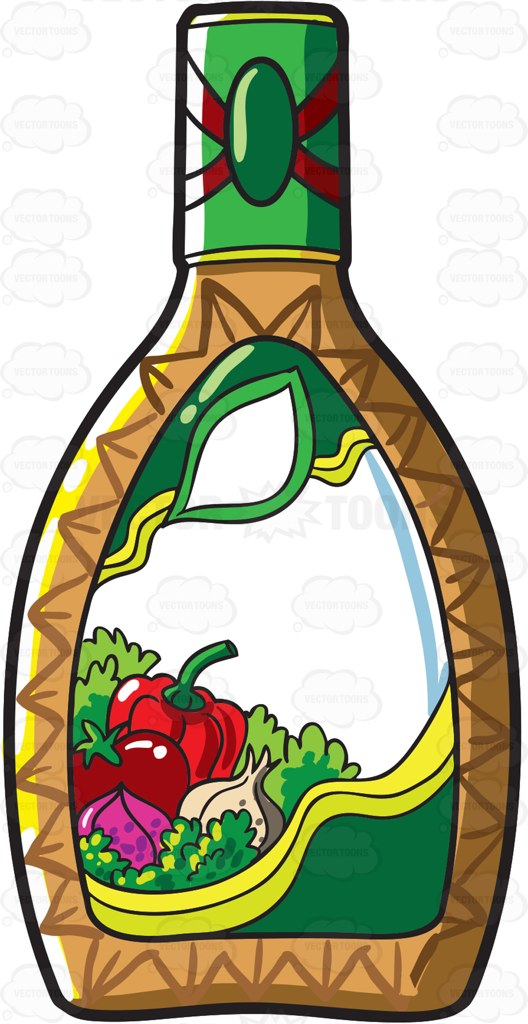 A Bottle Of Salad Dressing Cartoon Clipart.