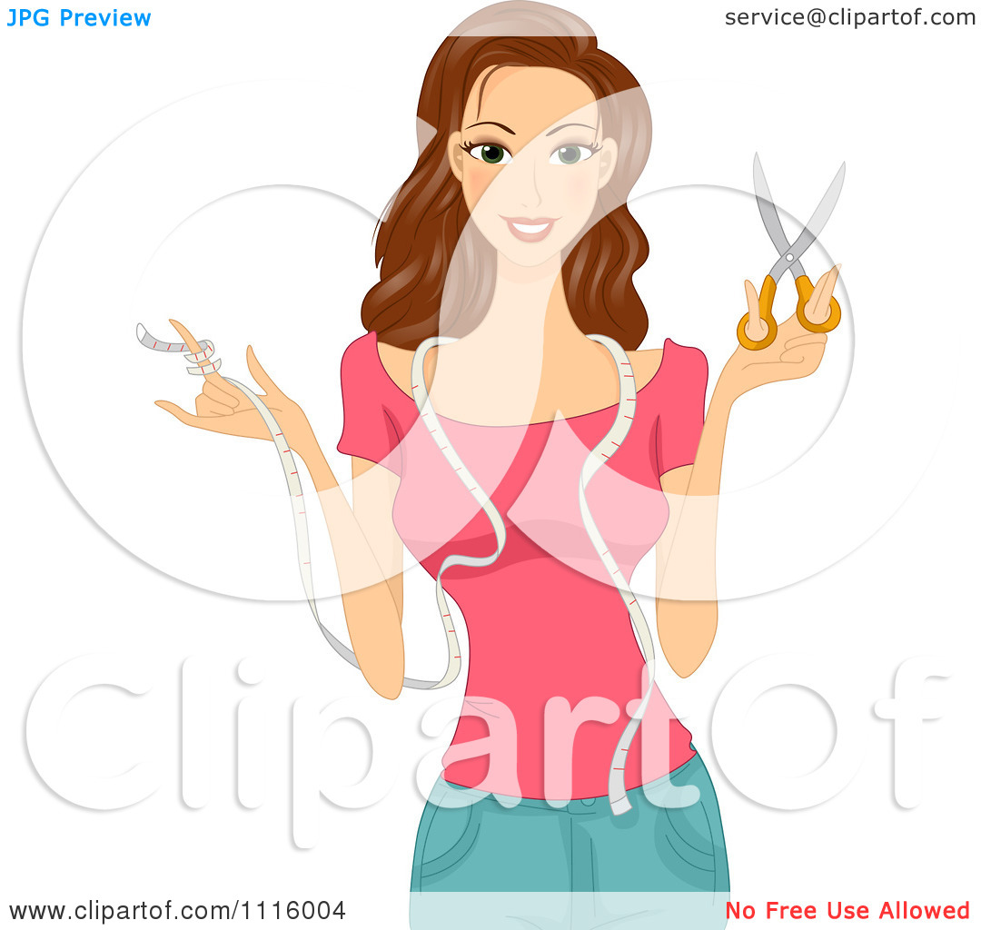 Clipart Beautiful Brunette Seamstress With Measuring Tape And.