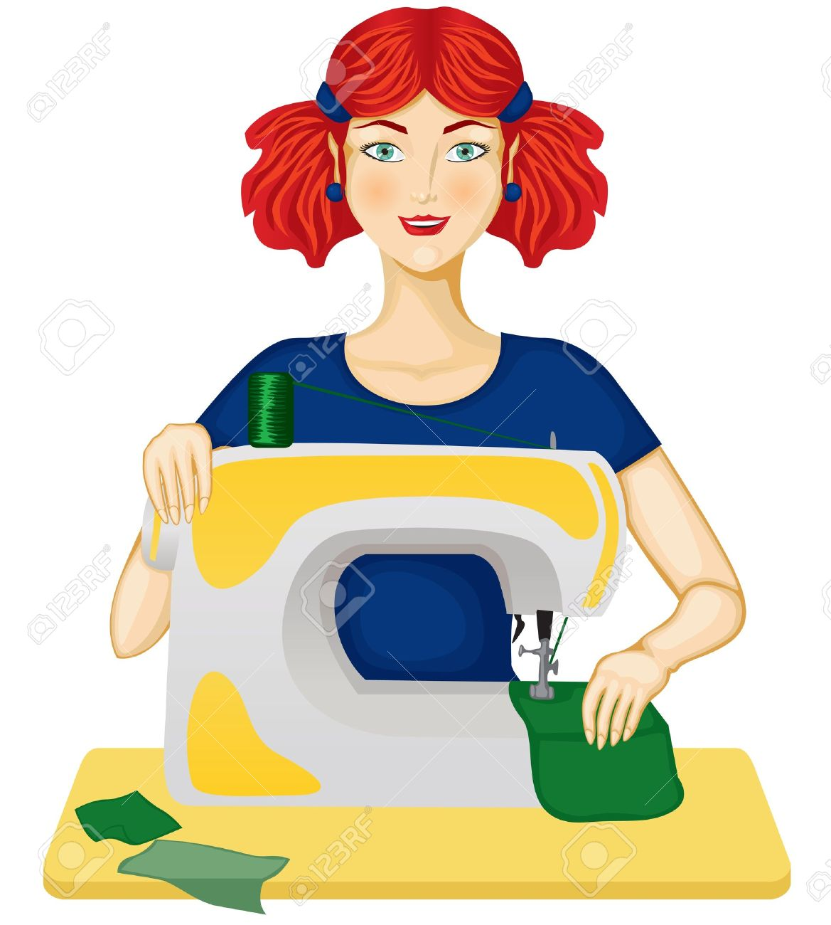The Woman Sewing On The Sewing Machine Royalty Free Cliparts.