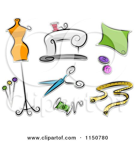 Cartoon of Dressmaking Icons.