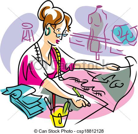 Clipart dress making.