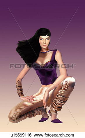 Stock Illustration of Woman in dressy pants crouching in a pose.