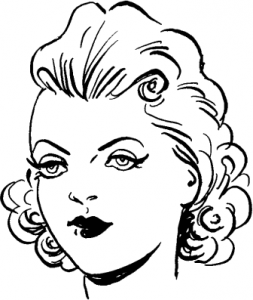 Young Woman Dressy Face BW Clip Art Download.