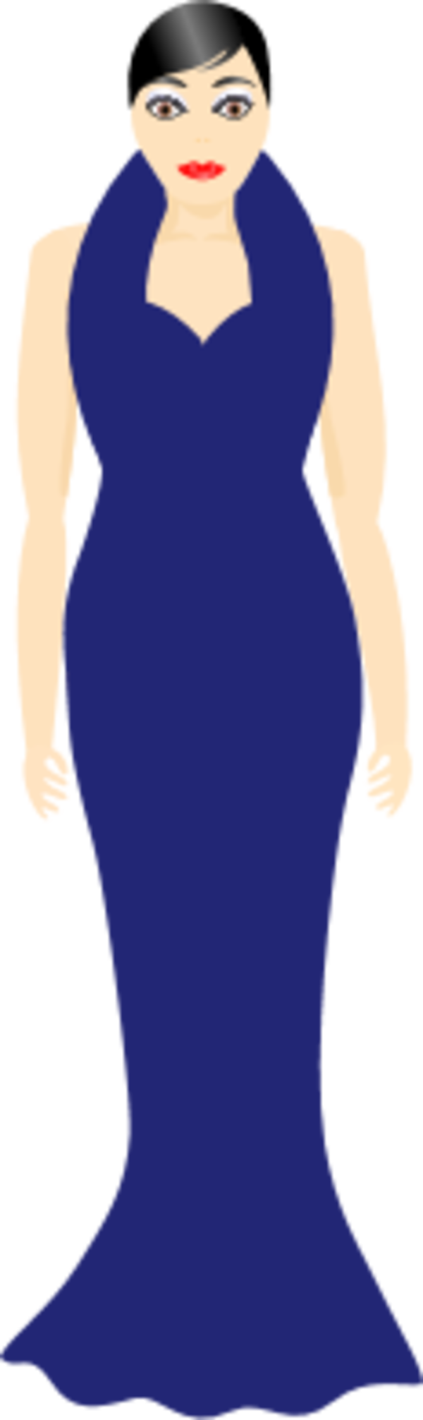 Clipart of silhouette girls in dressy clothes.