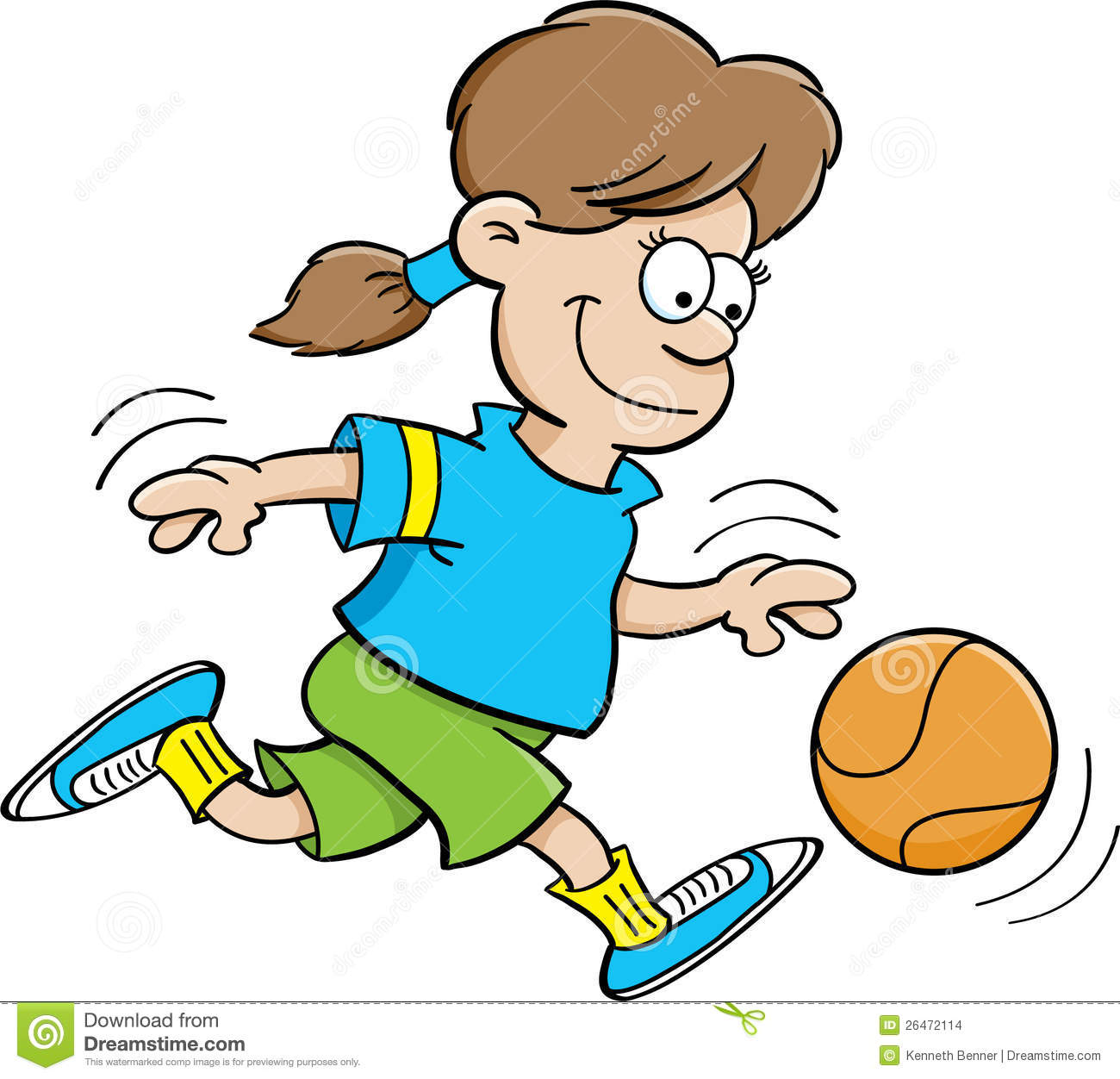 Dribbling basketball clipart.