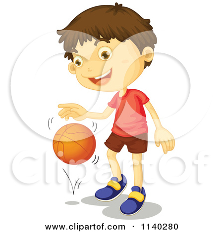 Dribbling basketball clipart.