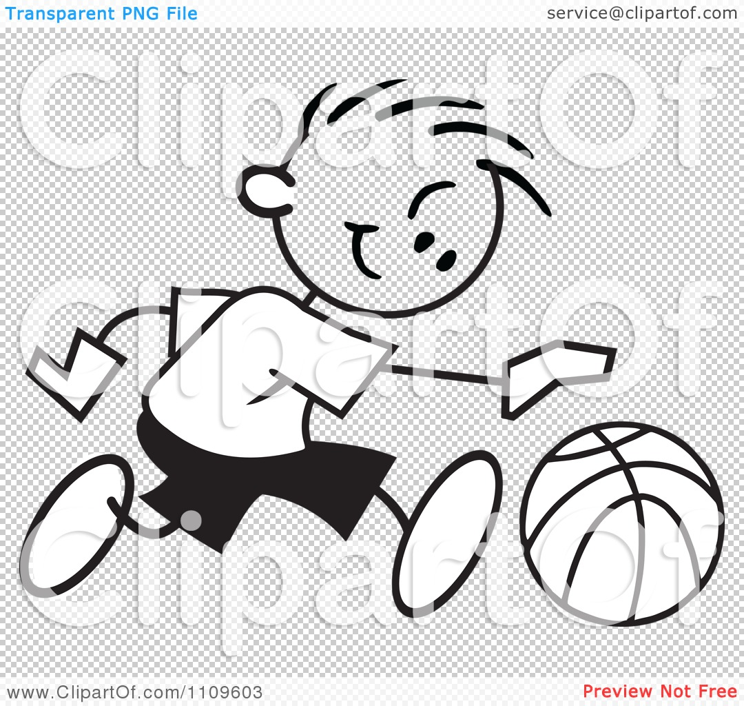 Clipart Black And White Sticker Basketball Player Boy Dribbling.