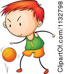 Clipart of a White Girl Dribbling a Basketball.