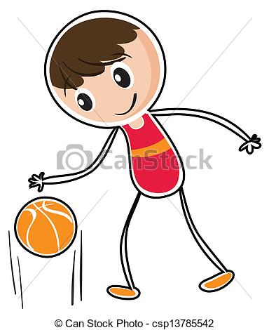 Vector Clip Art of Basketball Player Dribbling Ball Circle Low.