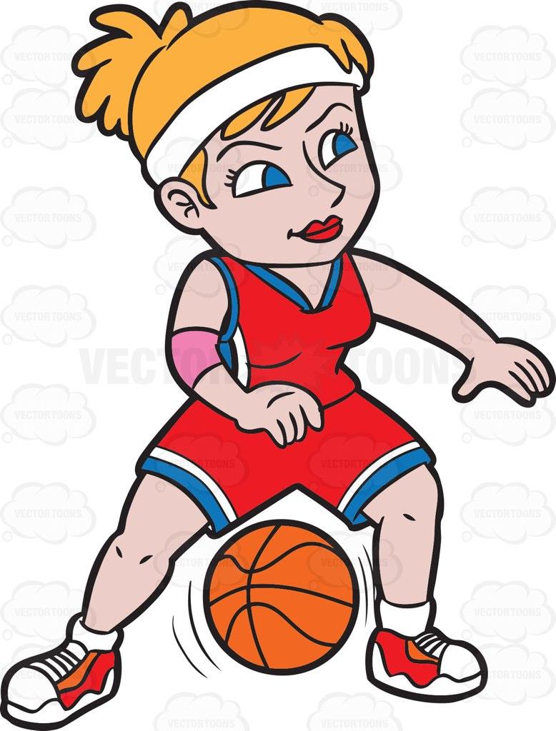 A Female Basketball Player Dribbling A Ball Cartoon Clipart.