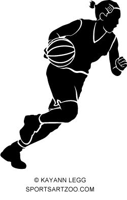 Basketball silhouette of a female basketball player with braided.