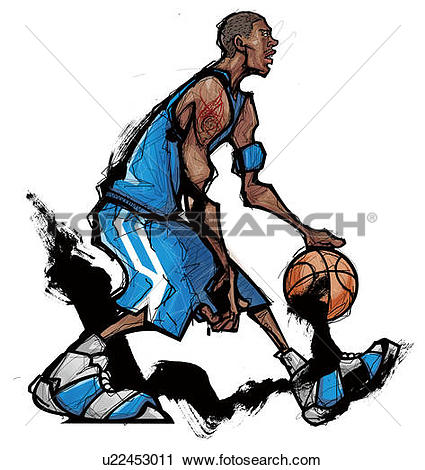 Clipart of Basketball player dribbling ball u22453011.