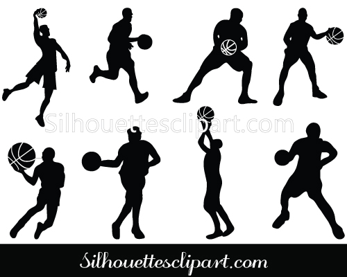 Basketball Players Silhouette Vector.