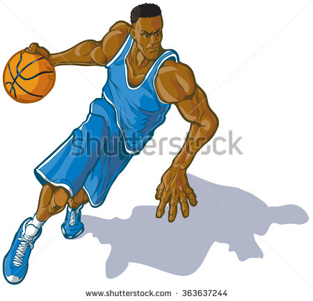 Basketball player dribbling clipart.