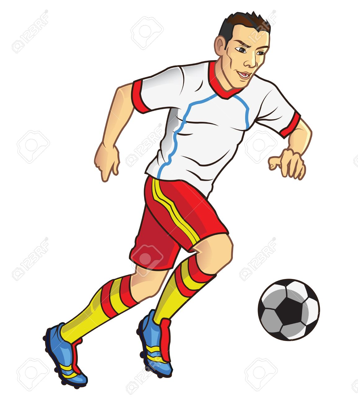 Soccer Player Dribbles The Balls Royalty Free Cliparts, Vectors.