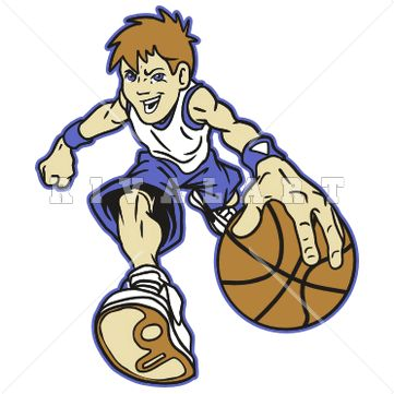 Sports Clipart Image of Boys Youth Basketball Player Dribbling.