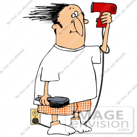 Clip Art Graphic of a Caucasian Man Blow Drying His Hair.