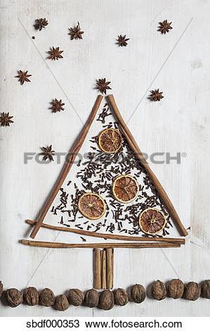 Stock Photo of Christmas tree shaped by cinnamon sticks, star.