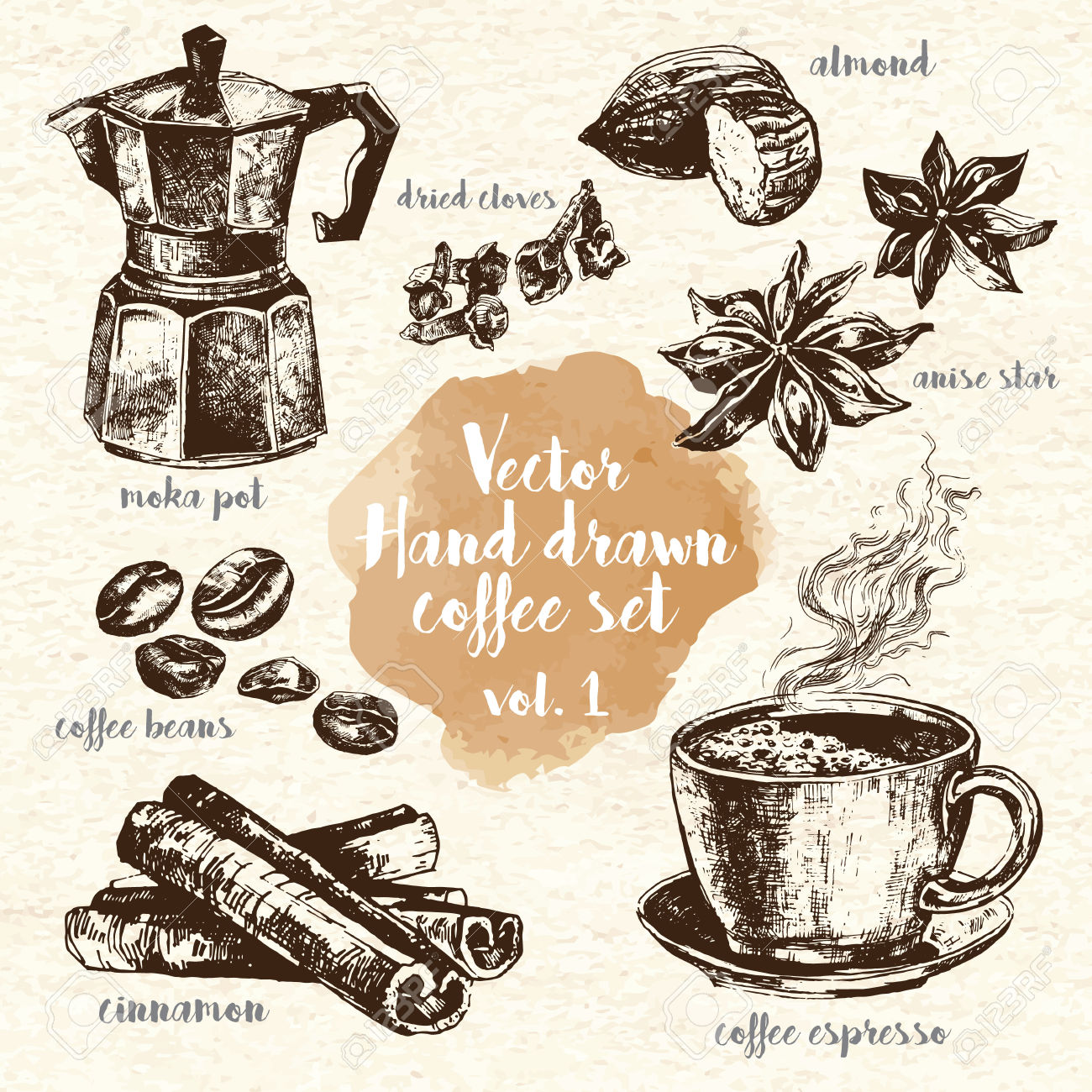 Including Espresso, Moka Pot, Anise, Coffee Beans And Dried Cloves.