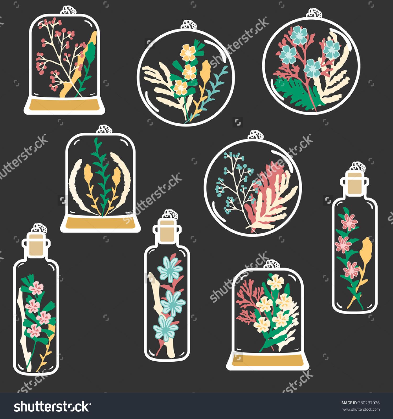 Set Hand Drawn Floral Terrariums Vector Stock Vector 380237026.