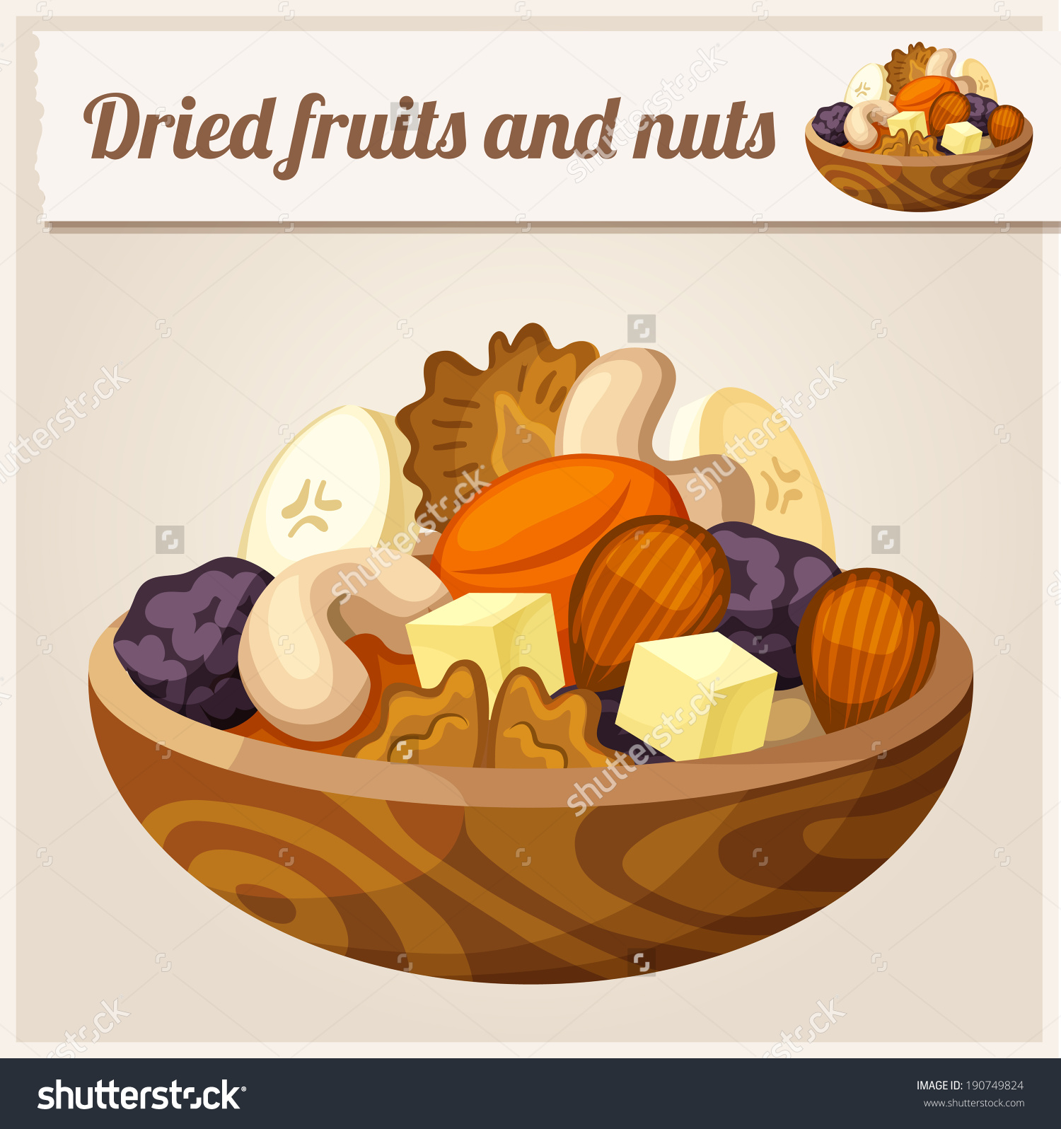 Detailed Icon Dried Fruits Nuts Stock Vector 190749824.