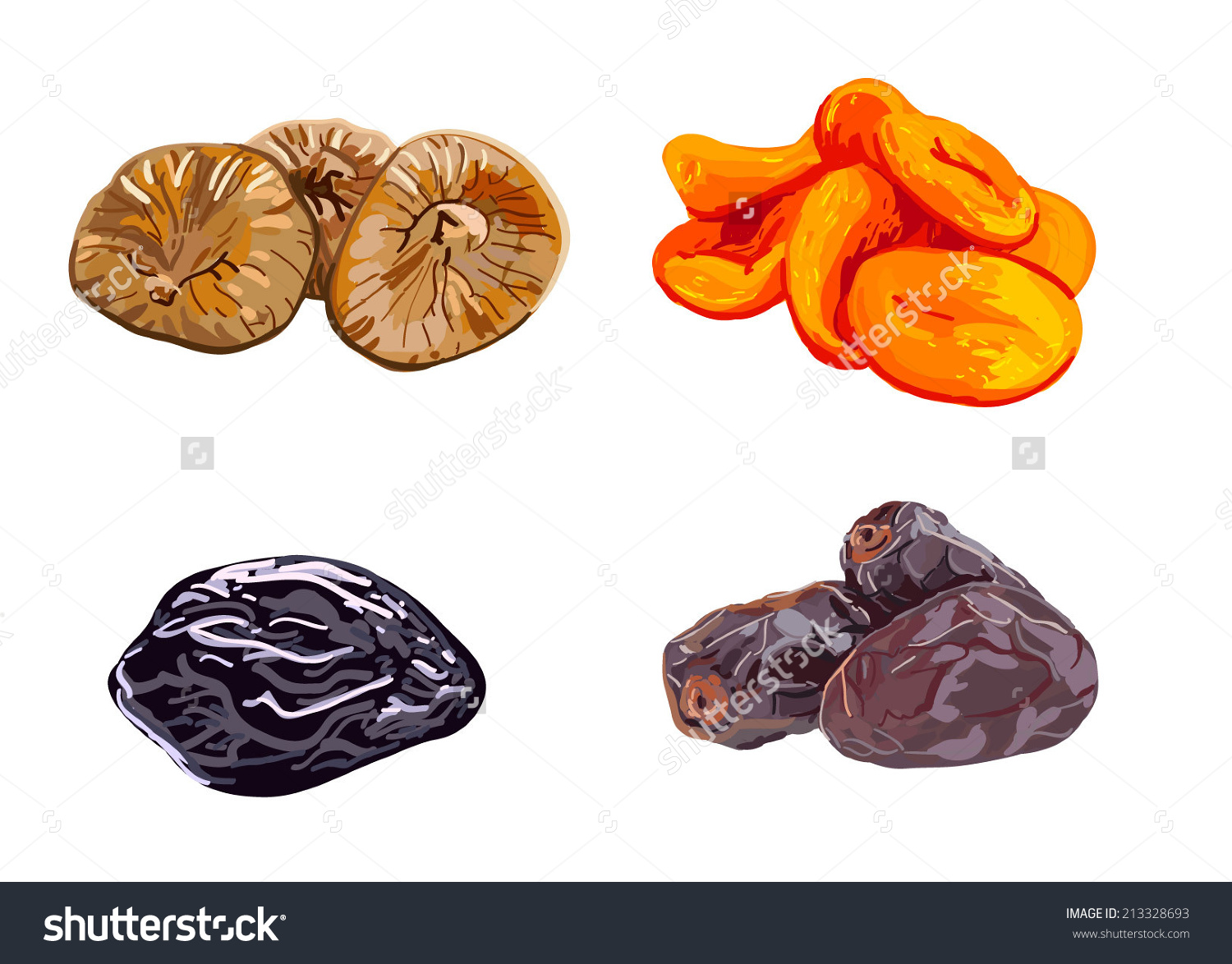 Dried Fruits Stock Vector 213328693.