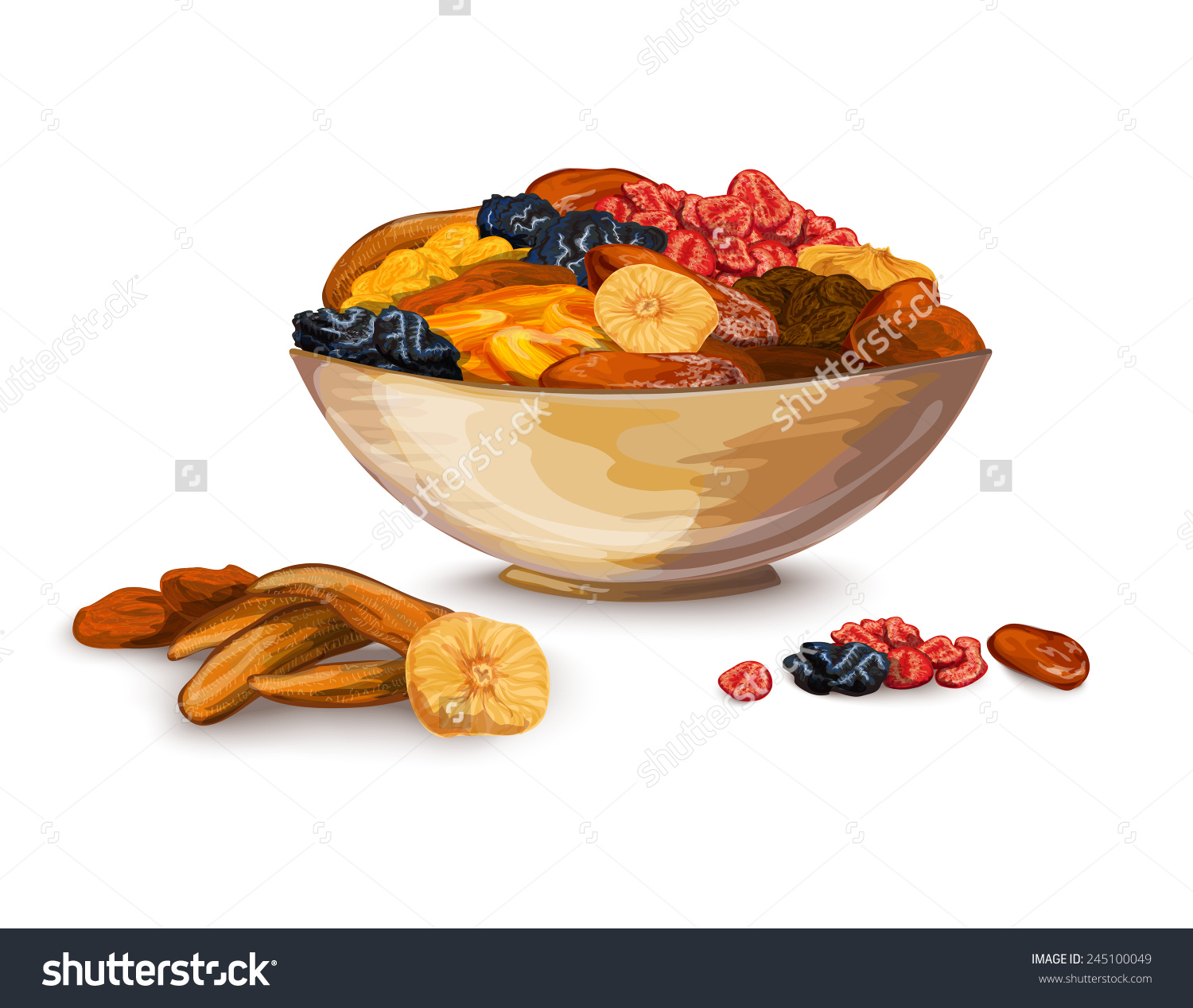 Dried Fruits Bowl Composition Prune Banana Stock Vector 245100049.