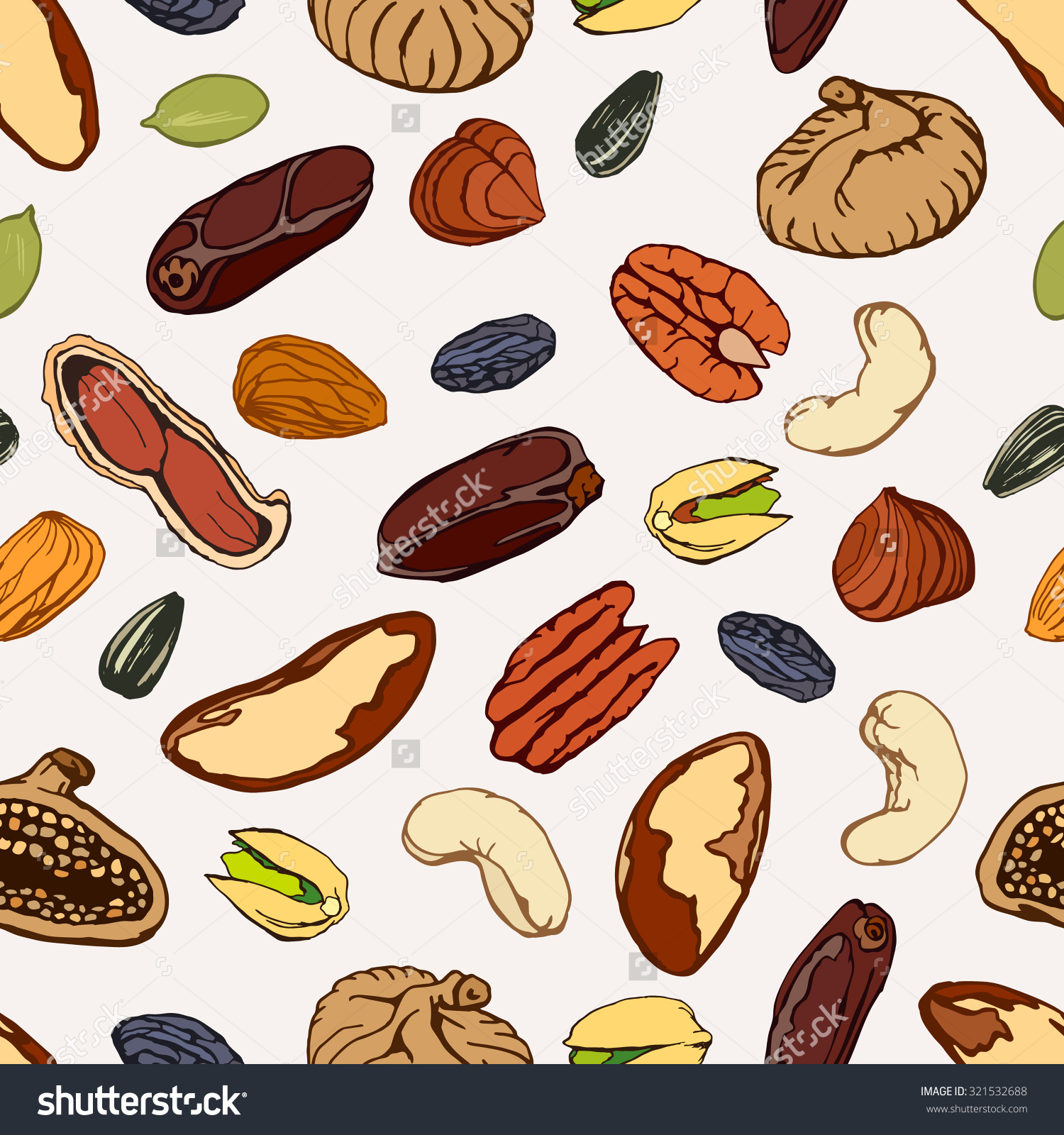Nuts Seeds Dry Fruits Peanut Pistachio Stock Vector 321532688.