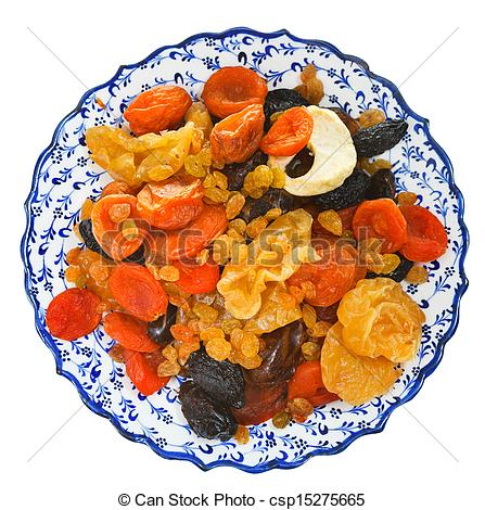 Stock Image of top view of dried fruits on arabic plate isolated.