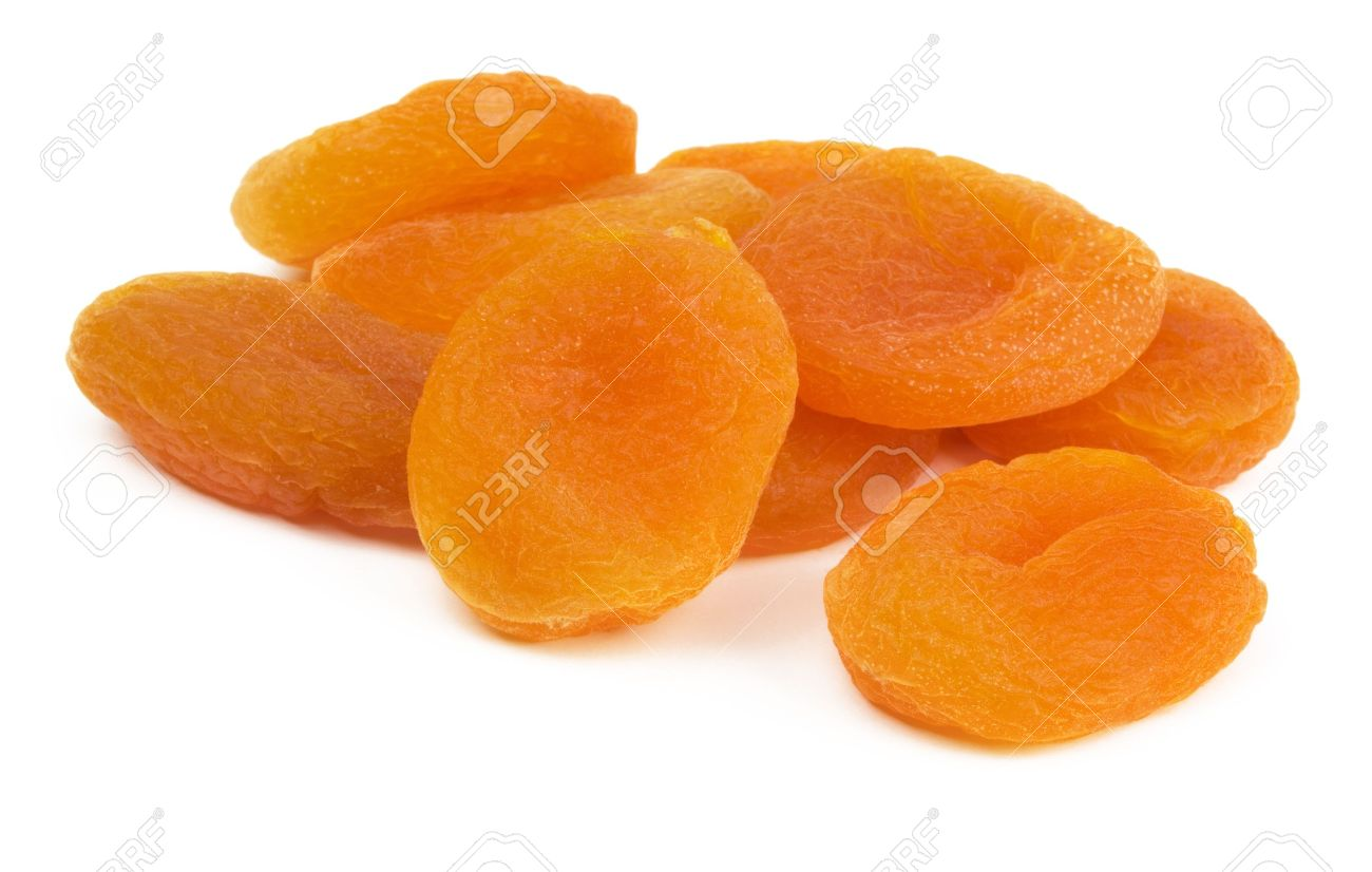 Ripe Sweet Dried Apricots Isolated On White Stock Photo, Picture.