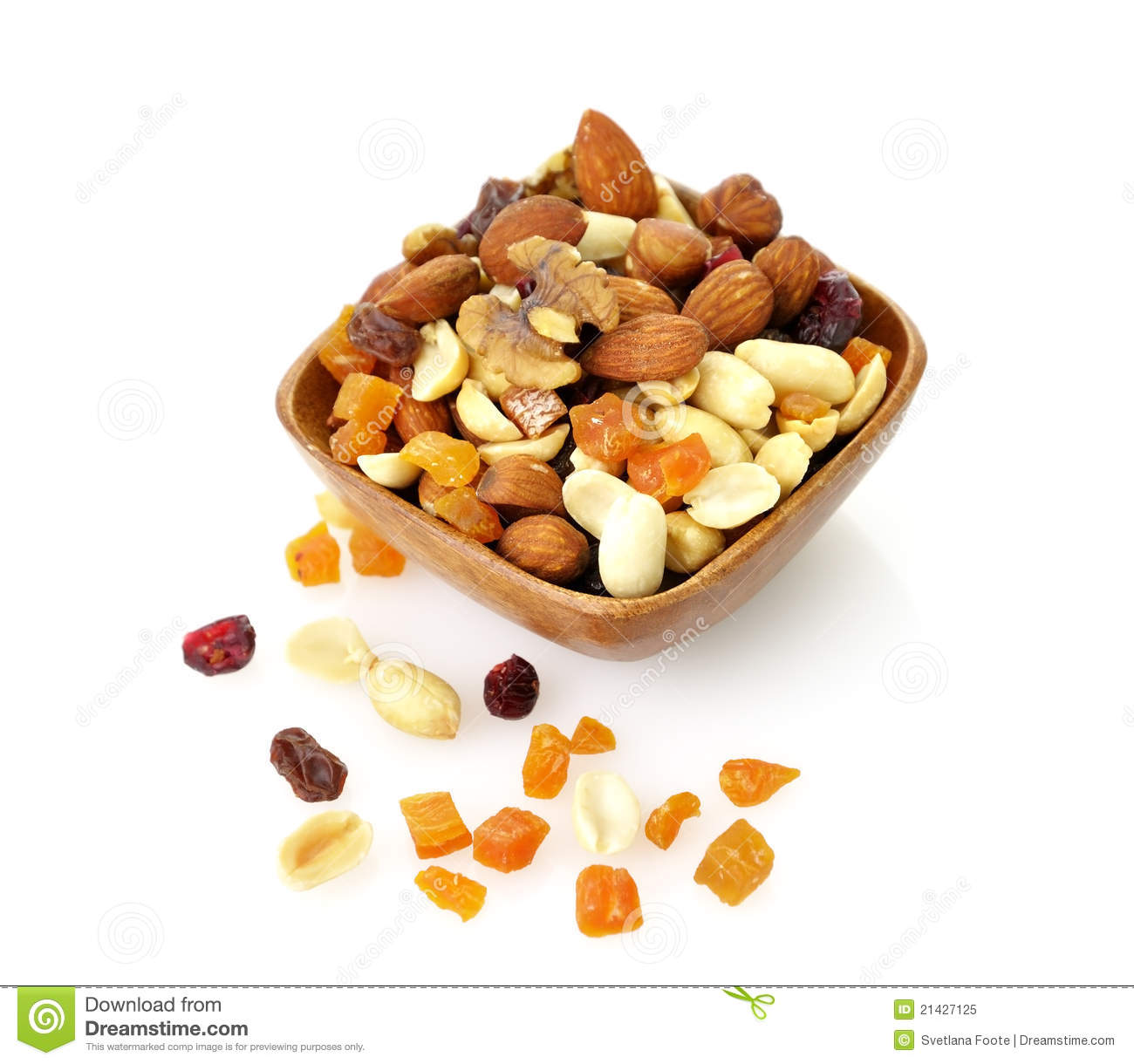 Mixed Peanuts With Dried Fruit Royalty Free Stock Photos.