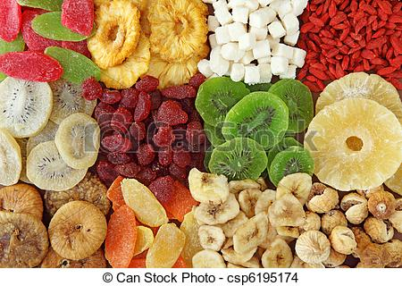 Stock Photo of Mix of dried fruits close up csp6195174.