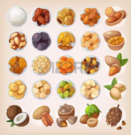 Colorful Set Of Dried Fruit And Nuts. Top View Royalty Free.