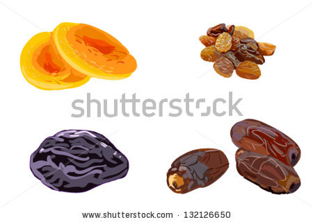 Vector Images, Illustrations and Cliparts: Dried fruits.
