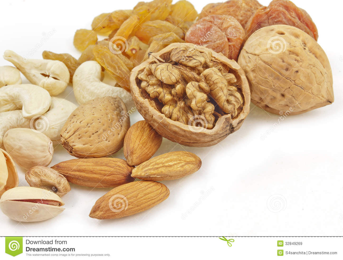 Variety Of Dry Fruits Royalty Free Stock Images.