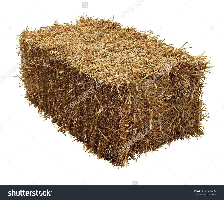 Bale Hay Isolated On White Background Stock Photo 134678378.