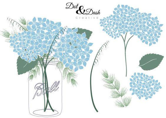 Hydrangea Mason Jar Bouquet Digital Clip Art.