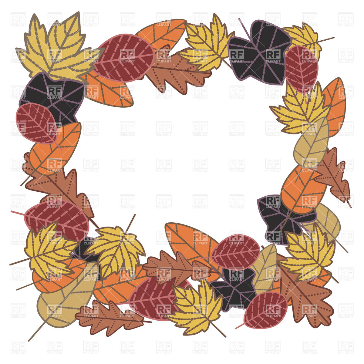 Square autumn frame made of dry leaves Vector Image #20371.