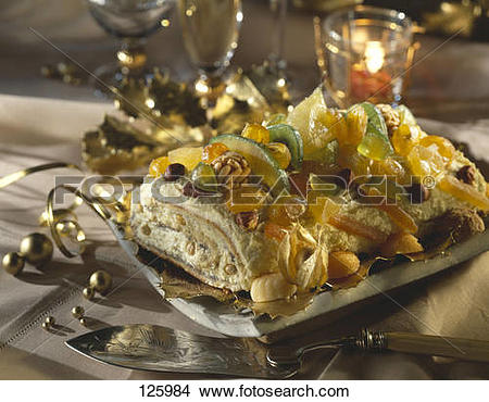 Stock Photo of Confit fruit and dried fruit log cake 125984.