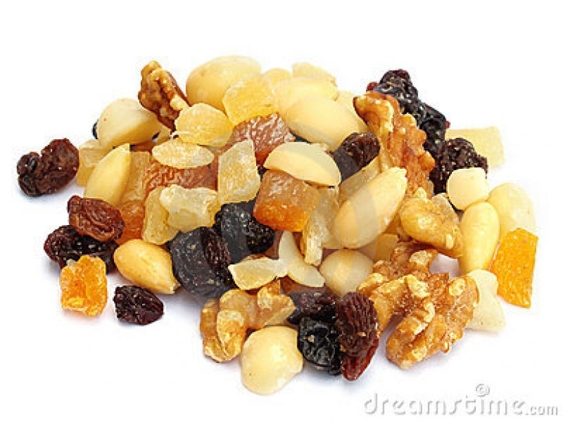 mixed dried fruit and nuts royalty free stock photography image.