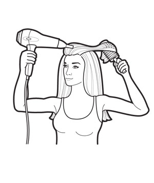 Drying Hair Clipart.