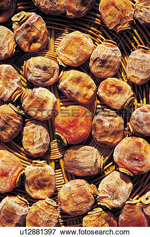 Picture of fruit, dried persimmon, dried persimmons, persimmons.