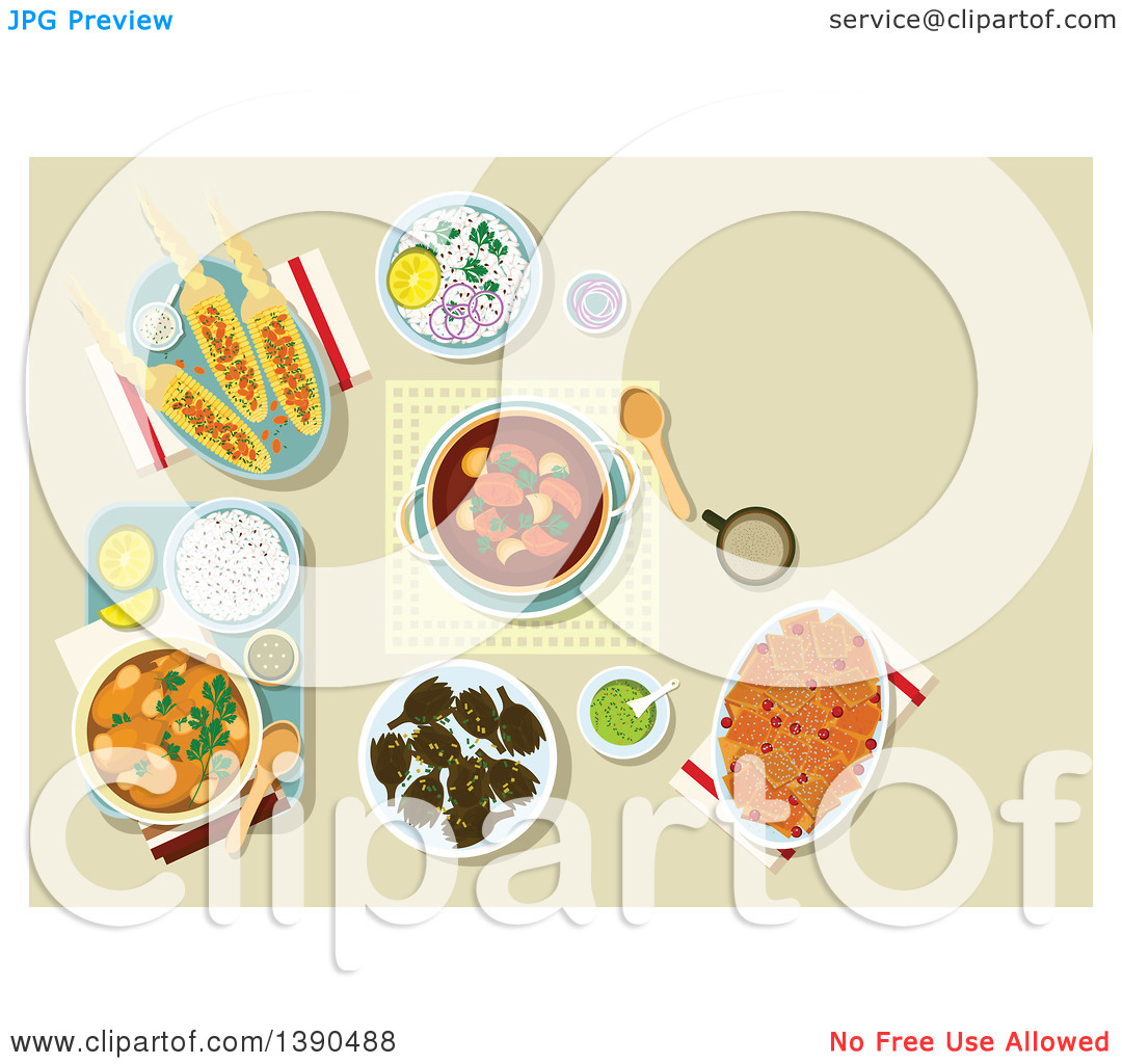 Clipart of Chicken Legs, Served with Rice and Guacamole, Bread.