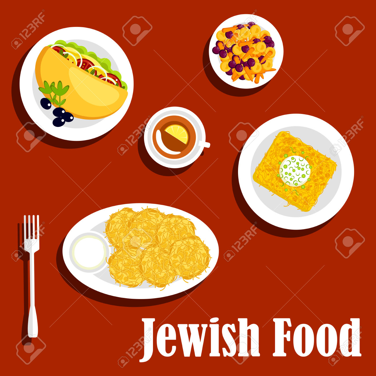 Traditional Vegetarian Jewish Food Menu Icons With Potato Pancakes.